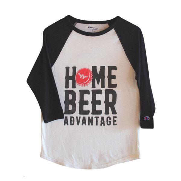 Baseball Tee Home Beer Advantage Champion Black & White