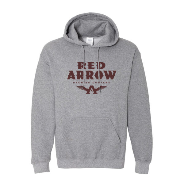 Grey Hoodie with Maroon Text Logo